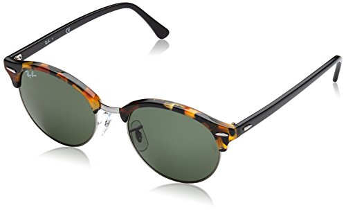 Ray-Ban RB4246 Clubround Sunglasses, Spotted Black Tortoise/Green, 51 ()
