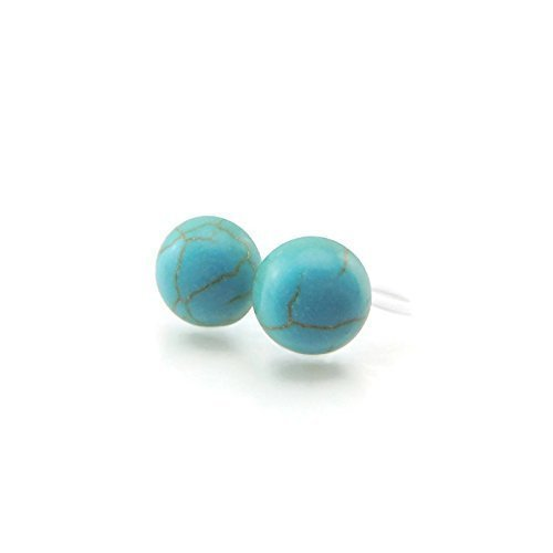Turquoise Clip Earrings - Invisible Clip on 8mm Simulated Turquoise Stone Earrings for Non-Pierced Ears