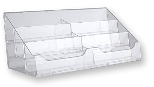 T'z Tagz Brand Clear Acrylic 6 Pocket Countertop Business Card Holder (Business Clear Card)