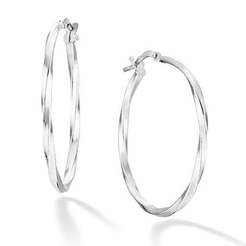 Miabella 925 Sterling Silver Italian 2mm Twisted Round Hoop Earrings for Women Men 15mm, 20mm, 30mm, 40mm, 50mm, 60mm (30)