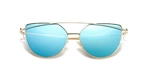 NioBe Cat Eye Mirrored Strikethrough Fashion Flat Lens Metal Frame Womens Sunglassses J6627 (Gold - Niobe Sunglasses
