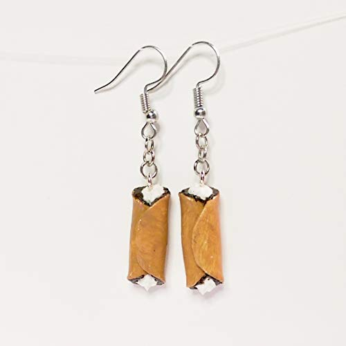 Cannoli Pastry Earrings Faux Food Drink Jewelry Halloween Christmas Chocolate ()