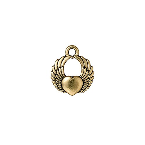 TierraCast Winged Heart, 18mm, Antique 22K Gold Plated Pewter, 4-Pack