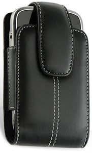 Quaroth Black Leather Vertical Case Stitched Black For Blackberry Curve 9360