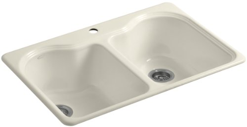Kohler K-5818-1-47 Hartland Self-Rimming Kitchen Sink with Single-Hole Faucet Drilling, Almond -