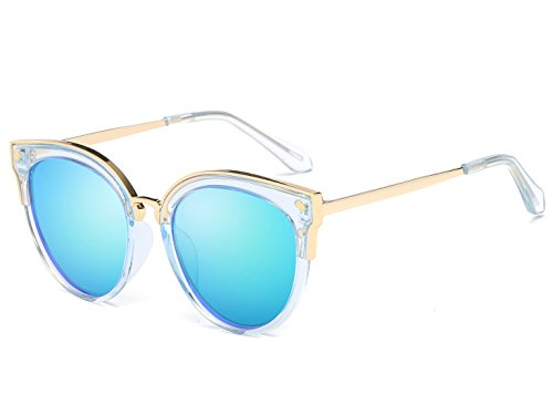 Bevi Women's Fashion Polarized Cat Eye Polycarbonate Metal Sunglasses ()