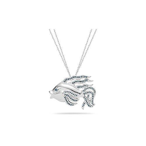 0.52 Cts Blue Diamond Fish Pendant in Silver