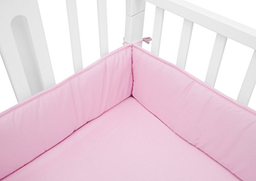 TL Care Cotton Percale Portable Crib Bumper, Mini, Pink, for Girls