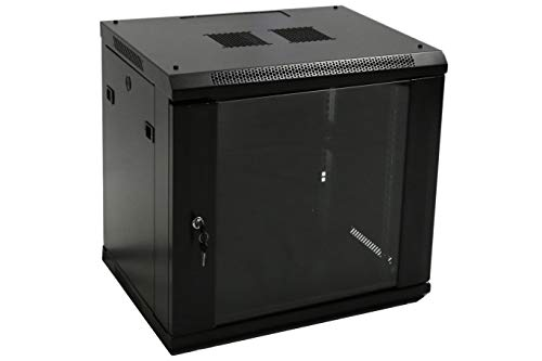 AEONS 9U Professional Wall Mount Network Server Cabinet Enclosure 19-Inch Server Network Rack 16-Inches Deep Black (Fully Assembled)