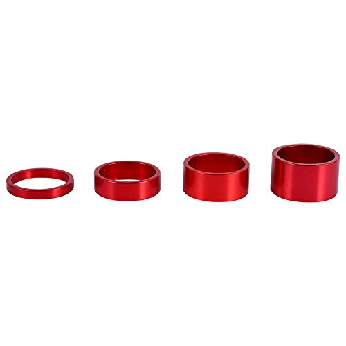 Dilwe Bicycle Fork Washer, 4 Colors 4Pcs/Set 5mm/10mm/15mm/20mm Aluminum Alloy Bike Front Stem Headset Spacer(Red)