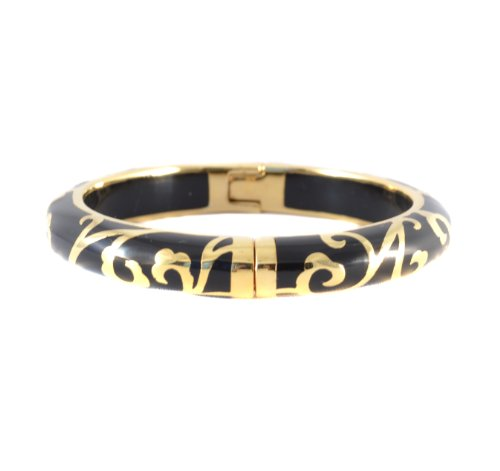 Andrew Hamilton Crawford 18k Gold Plated Scroll Bracelet in Black Colored Resin (Hamilton 18k Bracelet)