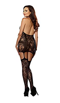 Dreamgirl Women's Plus-Size Trinidad Halter Garter Dress With Attached Stockings