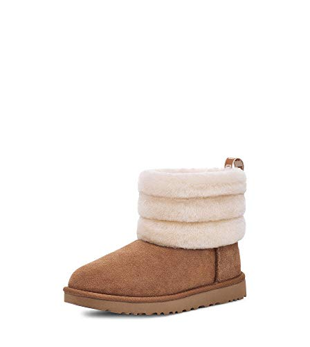 UGG Fluff Mini Quilted Boot, Chestnut, Size 9