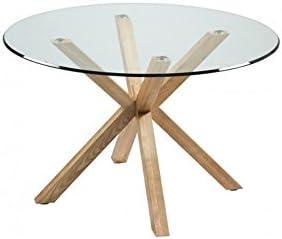 Camino a Casa – Mesa de comedor bandeja redonda (120 cm cristal y ...