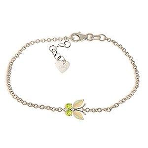 QP bijoutier naturel péridot & Opal Bracelet en or blanc 9 carats, 0.60ct coupe Marquise - 5026W