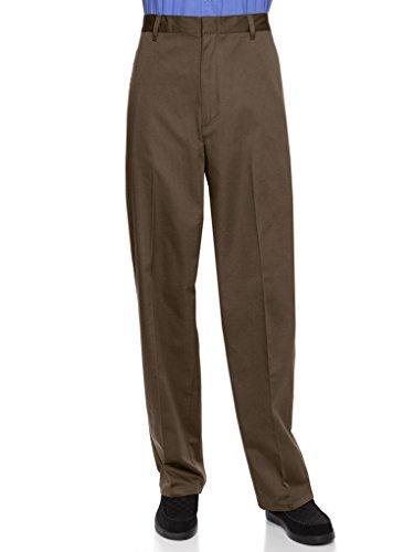 AKA Half Elastic Flat Front Men's Slacks Brown 44 Long (Mens Brown Dress Slacks)