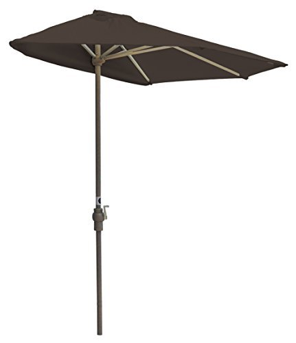 Blue Star Group Off-The-Wall Brella Sunbrella Half Umbrella, 9'-Width, Walnut - An extraordinary new product for expanding your outdoor Leisure living. A portable awning and shade solution that requires no Attachment to wall or vertical surface. Strong, Champagne color powder coated, aluminum frame with convenient crank handle. - shades-parasols, patio-furniture, patio - 31hirdwa1QL -
