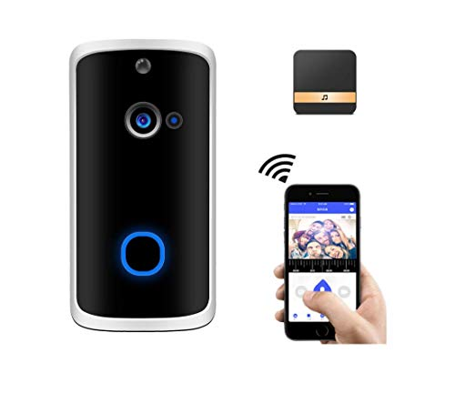 Video Doorbell Camera with Wireless Chime,16GB SD(Video Recording)&Chime Included,Wi-Fi with Motion Detector,Two-Way Talk,Night Vision,166° Wide Angle,Battery Operated,App for iOS/Android ()