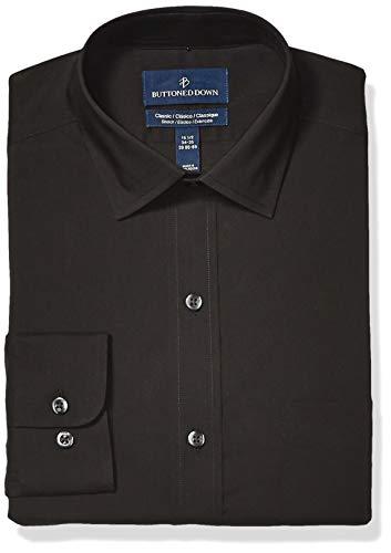 - BUTTONED DOWN Men's Classic Fit Tech Stretch CoolMax Easy Care Dress Shirt, Black Caviar, 17.5