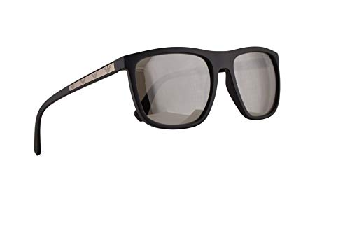 Emporio Armani EA4124 Sunglasses Matte Black w/Light Grey Mirror Silver Lens 57mm 50426G EA ()