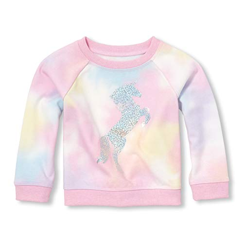 The Children's Place Baby Girls Long Sleeve Graphic Novelty Sweatshirt, Simplywht, 2T