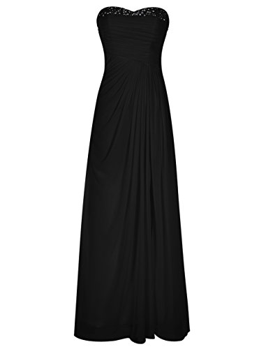 Black Chiffon Sweetheart Beading (Bbonlinedress Long Chiffon Beading Sweetheart Bridal Evening Party Prom Dress Black 6)