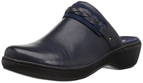CLARKS Women's Delana Abbey Clog, Navy Leather, 075 W US ()