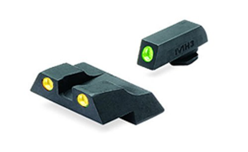 Meprolight Glock Tru-Dot Night Sight for G26 & G27. Yellow rear sight and green front sight. Fixed set