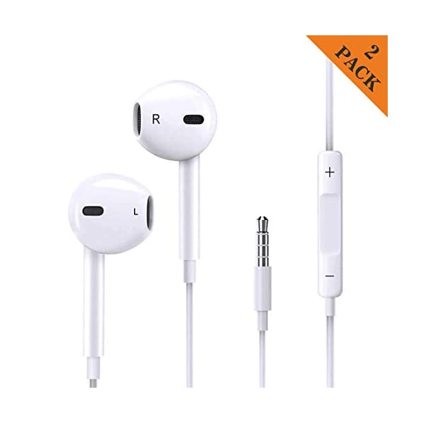 2 Pack Earphones/Headphones/Earbuds, Hopopower 3.5 mm Wired Earphones HD Bass with Mic and Volume Control Noise Isolating for Phone 6s/6 Plus/5s/5c/5/4s/SE iPad Samsung Galaxy and Android (White)