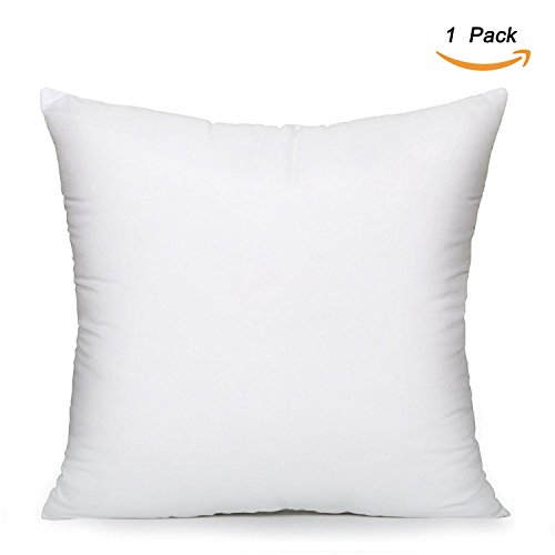 EVERMARKET Square Poly Pillow Insert, 16' L X 16' W, White (1)