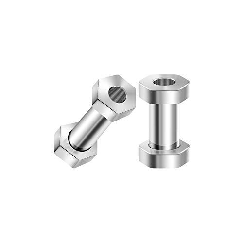 BIG GAUGES Pair of Surgical Steel 6gauges 4 mm Hexagon Screw Flesh Tunnels Piercing Jewelry Ear Earring Lobe Stretcher Plugs -