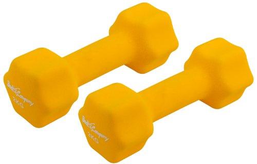Neopren Gymnastik Hanteln Hantel Gewichte - Frei wählbare Gewichtsabstufungen, 2 x 2,0Kg Gymnastikhantel Gelb
