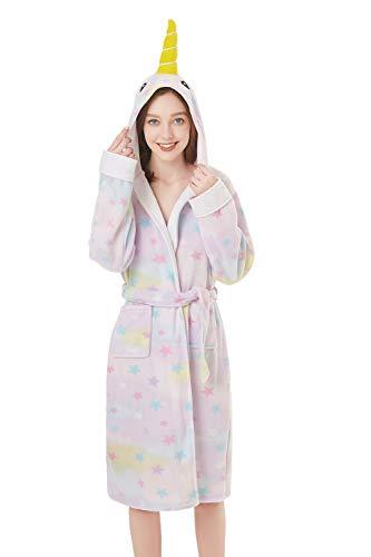 Foresightrade Adult Lady Unicorn Narwhal Polar Fleece Robe Soft Bathrobe for Women (Narwhal Star, Small)