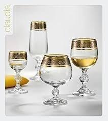 Bohemia Crystal''Claudia'' Celebration Gold Rim Crystal Glassware Set - 6 pcs each: Wine Glasses, Champagne Flutes, Liqueur Glasses & Cognac Glasses