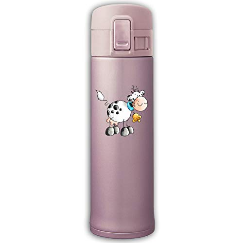 Jusxout Cute Cow Bell Bouncing Cover Insulated Vacuum Thermos Cup 17oz Stainless Steel Travel Bottle