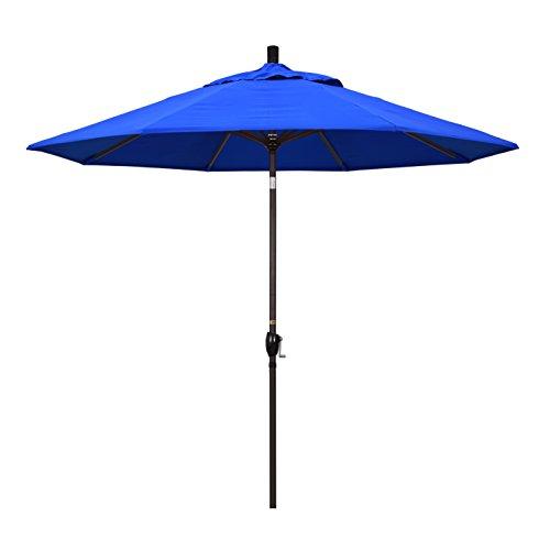 California Umbrella 9' Round Aluminum Market Umbrella, Crank Lift, Push Button Tilt, Bronze Pole, Sunbrella Pacific Blue
