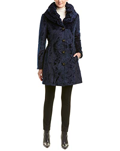 (Laundry by Shelli Segal Woman's Black Faux Fur Reversible 3/4 Coat Hooded Shearling and Quilted Navy (XL))