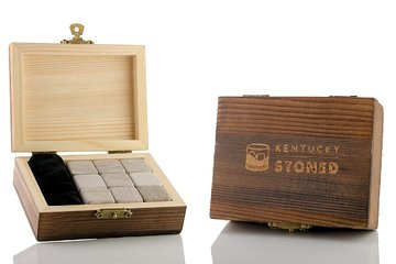 Kentucky Stoned Whiskey Stones with Custom Engraved Wooden Gift Box, Set of 9 ()