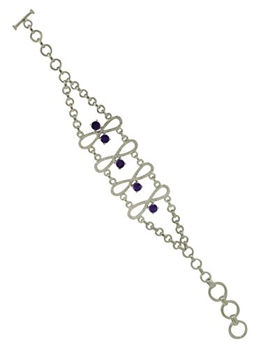 Shine Jewel Amethyst Gemstone 925 Sterling Silver Birth Day Gift Bracelet