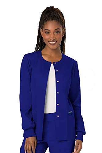 Cherokee Women's Snap Front Warm-up Jacket, Galaxy Blue, Medium ()