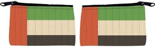 United Arab Emirates Flag on Distressed Wood Design Scuba Foam Coin Purse