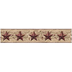 York Wallcoverings Best Of Country JL1094B Star Berry Border, Khaki/Burgundy