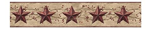 York Wallcoverings Best Of Country JL1094B Star Berry Border, Khaki/Burgundy (Wallpaper Country)