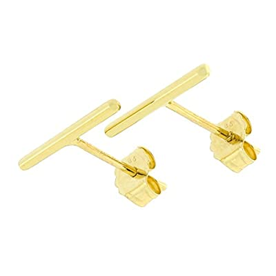 Automic Gold Solid 14k Yellow, White or Rose Gold Line Earrings from Automic Gold