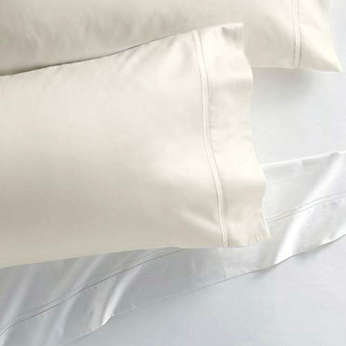 Westbrooke Linens 400 Thread Count 100% Long-Staple Cotton Pleated Hem Pillowcase, Solid Sateen Weave, Wrinkle Free, Hotel Collection, Luxury Bedding Pillowcase (Standard, Ivory)