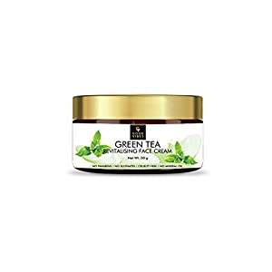 Good Vibes Green Tea Revitalising Face Cream, 50 g Skin Hydrating Soothing Light Weight Formula, Helps Delay Signs of…