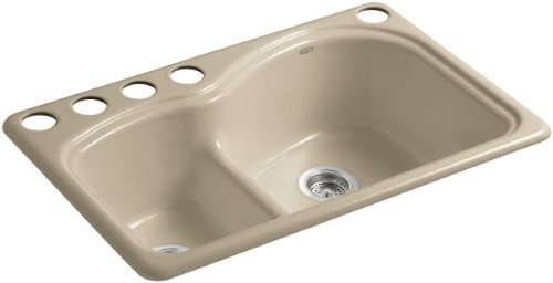 Kohler K-5839-5U-33 Woodfield Smart Divide Undercounter Kitchen Sink with Medium/Large Basins and Five-Hole Faucet Drilling, Mexican Sand - Smart Divide Undercounter Kitchen Sink