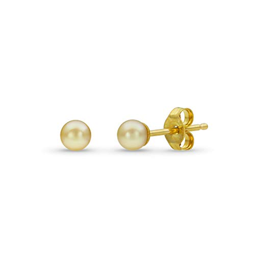 Pearl Earrings for Women | Rare Baby Akoya Cultured Pearls | 14k Yellow Gold Studs with Natural Pearl | Small, Delicate 3-4mm ()