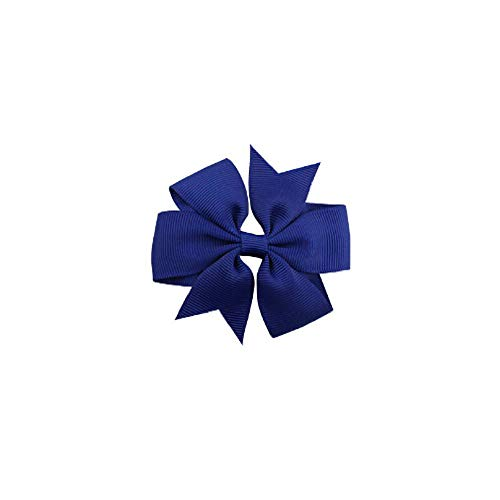 10 Pcs Children's Bow Hairpin V-shaped Ribbed Ribbon Hair Clips Accessories for Baby Girls Kids and Women (8cm - Bow Pin Sapphire