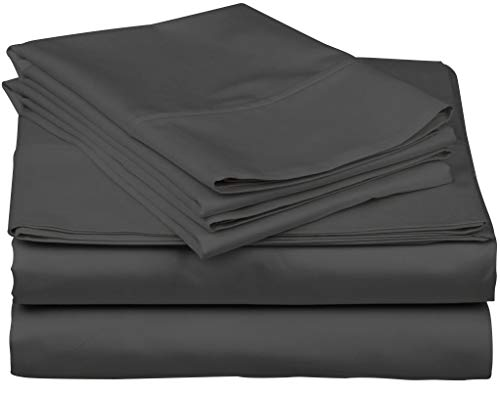 True Luxury 1000-Thread-Count 100% Egyptian Cotton Bed Sheets, 4-Pc Queen Dark Grey Sheet Set, Single Ply Long-Staple Yarns, Sateen Weave, Fits Mattress Upto 18'' Deep ()